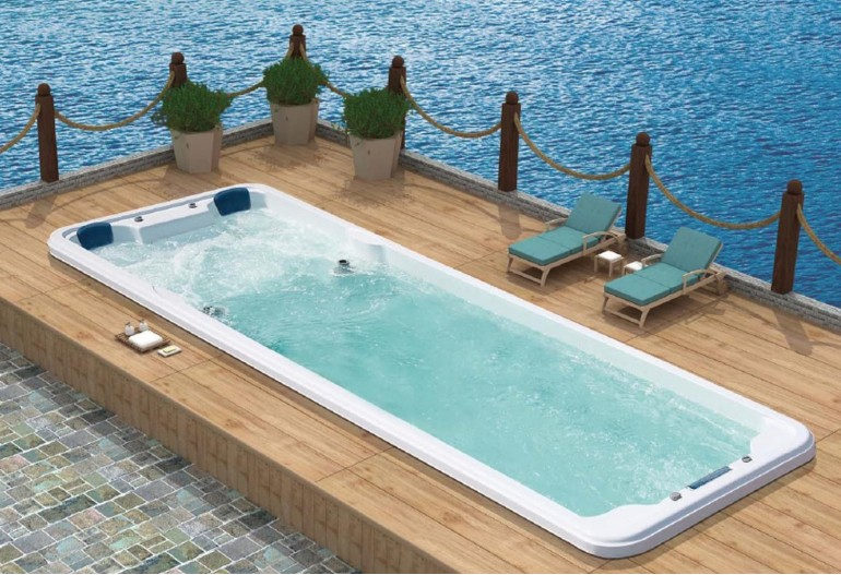 Piscina Con Jacuzzi Exterior.Piscina De Hidromasaje Swim Spa At 007b