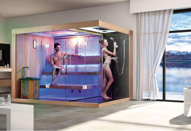 Sauna seca + sauna úmida com ducha AT-002